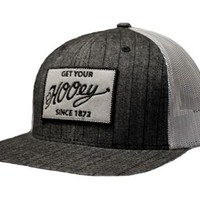 """Hooey """"Miles:  Gray and Black pinstripe cap with gray mesh trucker style back. OSFA"""