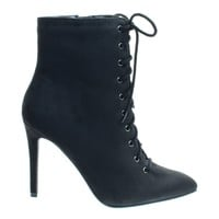 Stain Black by Delicious, High Heel Combat Lace Up Ankle Bootie w Pointed Toe & Corset