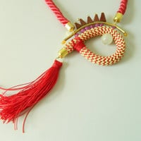 Tassel  necklace Rope Long Boho Necklace Red Statement Necklace Unique necklace Stone Modern Necklace Bib Fiber Chunky Necklace Gift For Her