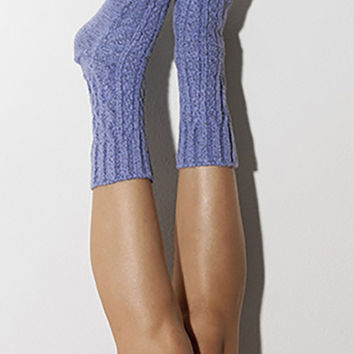 Dazzling Blue Marled Cable Knit Crew Socks