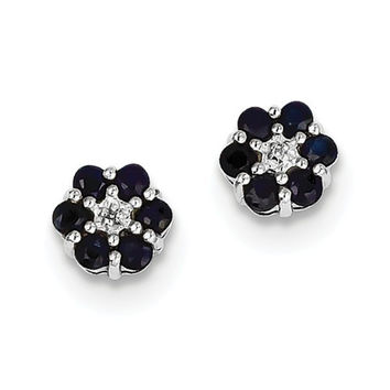 Sterling Silver Blue Sapphire And Diamond Flower Post Earrings