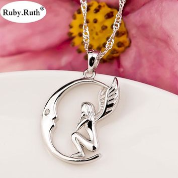 Silver Color Locket Pendant Women Jewelry Silver Angel Moon Necklace Jewelry