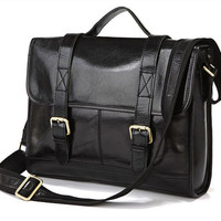 Promotion - Handcrafted Leather Briefcase / Messenger / Laptop / Men's Bag in Classic Black