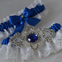 Wedding Garter Set Royal Blue and White Raschel Lace with Rhinestone Applique