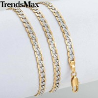 Trendsmax Gold Chain Necklace Men Women Cuban Link Chains 2018 Fashion Men's Jewelry GN64