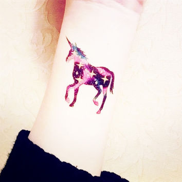 Galaxy Unicorn tattoo - InknArt Temporary Tattoo -  large pattern wrist tattoo body sticker fake tattoo quote