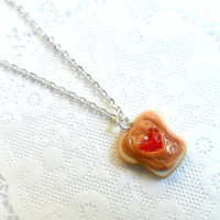 Peanut Butter & Strawberry Heart Jelly Necklace, Cute :D