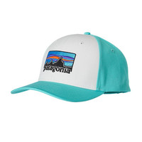 Patagonia '73 Logo Roger That Hat- White with Howling Turquoise
