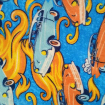 Fleece fabric classic cars hot rods flames  print quilt sewing material to sew by the yard crafting quilters sewer BTY