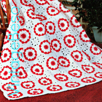 INSTANT Download Pdf 1970s Christmas Afghan SECOND Vintage CROCHET Pattern create your own holiday home decor 2 pass down generations