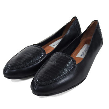 Black Leather Loafers - Alligator Textured Smoking Slippers Flats Minimal 90's Goth Women's Size 8