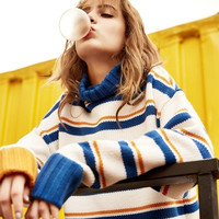 Korean Women Fashion Winter Pullover Stripes Sweater [9852922319]