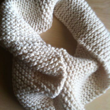 Hand Knitted Wool Crowl Scarf, Cream Knitted Wool Scarf, Handmade Scarf, Hand Knitted Scarves, Holiday Gift