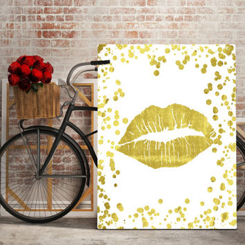 Printable art Gold Lips print,Gold Lips print,Printable quote,Gold print,GLAMOUR GOLD LIPS,Prints and quotes,Digital prints,Instant Download