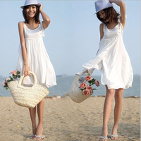 New Women White Summer Bohemian Sleeveless Vest Cotton Beach Dress Femme Boho Basic Dress Sundress