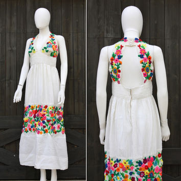 Vintage 60s 70s Boho Hippie Mexican Oaxacan Embroidered Wedding Sun Dress