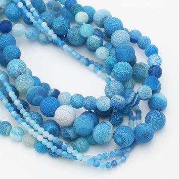 Natural Stone Sky Blue Weathered  Agate Round Loose Beads Pick Size 4/6/8/10/12MM For Jewelry Making DIY