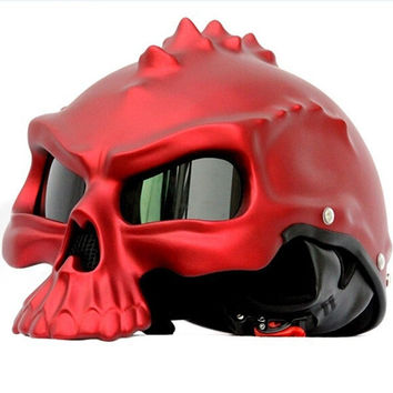 Newest Dual Use Skull Motorcycle Helmet Capacetes Casco Novelty Retro Casque Motorbike Half Face Helmet