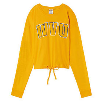 West Virginia University Campus Cropped Drawstring Long Sleeve Tee - PINK - Victoria's Secret