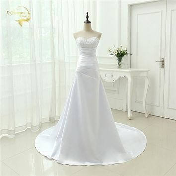 Cheap Plus Size Wedding Dress 2017 Beaded Strapless Bodice A Line Satin Bridal Gowns Vestido De Noiva New Robe De Mariage OW1019