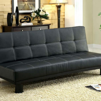 Black, Wood Frame and Stitching Details   Collin Futon   American Freight