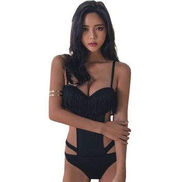 2017 New Summer One Piece Swimwear High Cut Out Black Bodysuit Beachwear Tassels Solid Sexy Monokini Ladies Push Up Bathing Suit