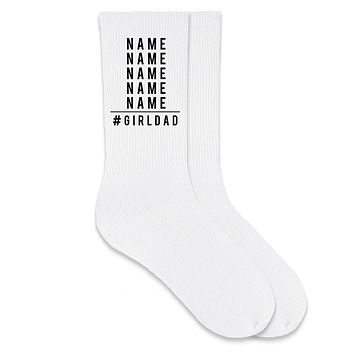 #girldad Personalized Crew Socks for the Dad of Girls