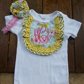 Monogrammed ruffled  Onesuit or shirt in Pink  blue and Green - Baby shower gift