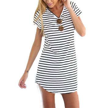 Women summer dress 2017 new arrive saling O neck short sleeve print striped plus size slim cotton vestidos mini dresses 4364