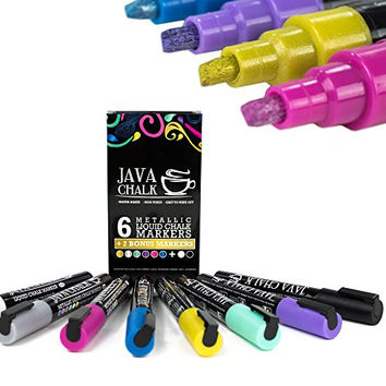 Chalk Paint Markers - Liquid Chalk Markers in Metallic Colors by Java Chalk- Wet Wipe 6 count set + 2 BONUS Markers - Perfect for Bistro, Windows, Glass, Labels, & Whiteboards - Kid Friendly