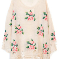 Light Pink Distress Ripped Rose Knit Sweater
