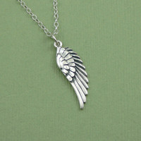 Large Wing Necklace - sterling silver charm pendant angle wing jewelry - gift