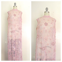 Vintage 1960s Pink Beaded Flapper Style Dress