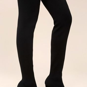 Alyce Black Knit Thigh High Boots
