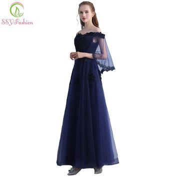 New Elegant Navy Blue Evening Dress The Bride Banquet Boat Neck Lace Appliques Floor-length Party Formal Gown Custom