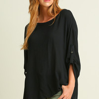 """Sydney"" Roll Sleeve Tunic with Tie Details on Back, Black"