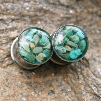"""Turquoise Plugs made with real turquoise chips custom size 00g, 7/16g, 1/2g, 9/16g, 5/8, 3/4g, 7/8g, 1"""""""