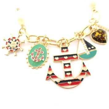 Anchor Boat Helm Nautical Themed Charm Bracelet with Pearl Details | DOTOLY