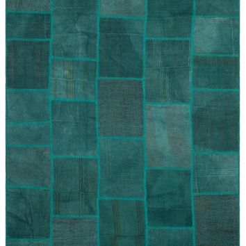 MIXED OVER DYED KILIM PATCHWORK UNIQUE RUG 6'6'' X 9'10'' FT 199 X 300 CM