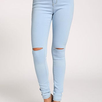 Light Blue Knee Slit High Rise Jeans