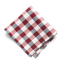 Pocket Square in Red Picnic Check