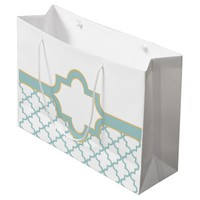 Custom Moroccan Pattern with Name plate & Monogram Large Gift Bag
