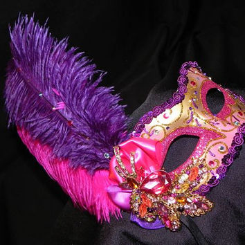 Masquerade Mask in Hot Pink Purple and Gold by TheCraftyChemist07