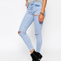 ASOS Lisbon Skinny Mid Rise Ankle Grazer Jeans in Parker Wash with Thigh and Knee Rip