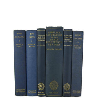 Navy Blue Decorative Book Set, Vintage Books, Blue Books, Old Books, Home Decor, Wedding Decor, Book Lover Gift, Stage Props, Book Stack