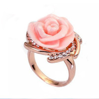 Plated 18k gold diamond roses ceramic ring