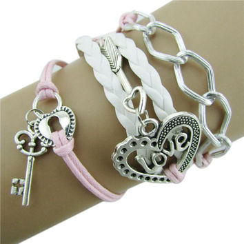 SIF Infinity Love Heart Key Lock Friendship Antique Leather Charm Bracelet DEC 18