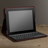 Artisan Leather Hard Shell iPad® Cover with Bluetooth® Keyboard – Chocolate
