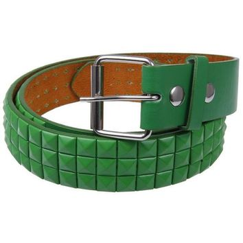 PEAPGQ9 Green Studded Leather Belt