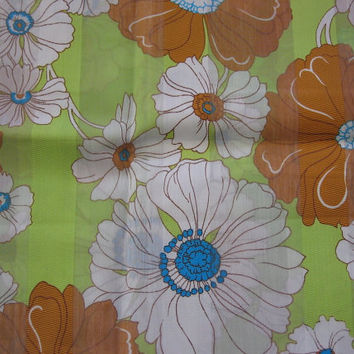 Retro Vintage Green & Brown Flower Power Fabric - 1YARD 16 INCHES